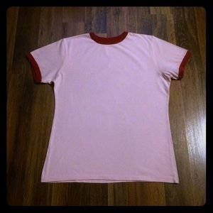 🦋 2/$10 or 5/$20 Pink & Red Trim T-Shirt